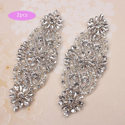 2 Pieces Wedding Dress Applique with Rhinestones and Pearls for Bridal Belts