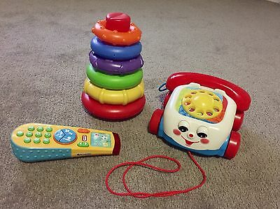 Playgro Rock N Stack, Fisher Price Phone + Little Tikes Remote Control