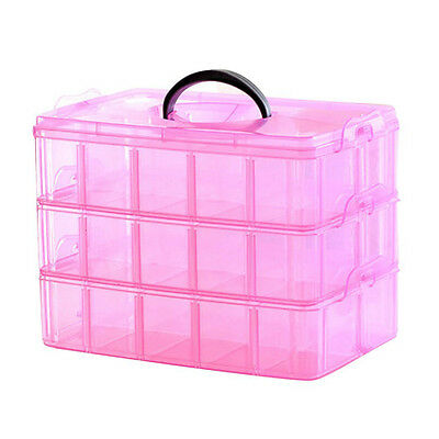 3 Layer Portable Plastic Nail Art Makeup Container Manicure Storage Boxes(R C2F5