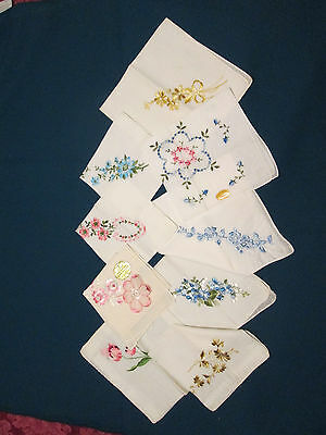 Vintage embroidered lady's hankies handkerchiefs lot of 9 pink blue yellow