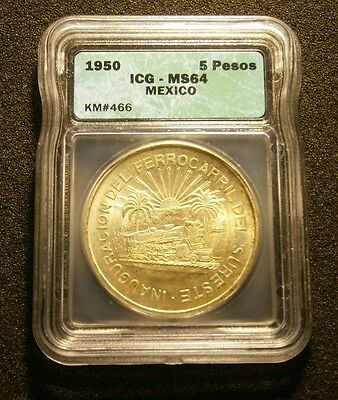 1950 Mexico 5 Pesos Certified Icg Ms64 Opening Of Southern Railroad #17-062