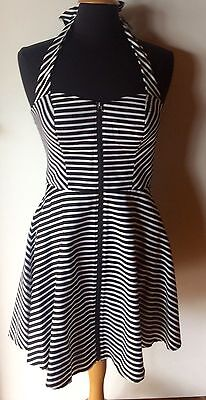 HONEY & BEAU Black & White 'Earn your Stripes' Dress Size 12 BRAND NEW RRP $139.