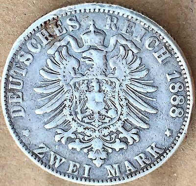 1888 A - German States PRUSSIA Zwei (2) Mark 90% Silver Coin