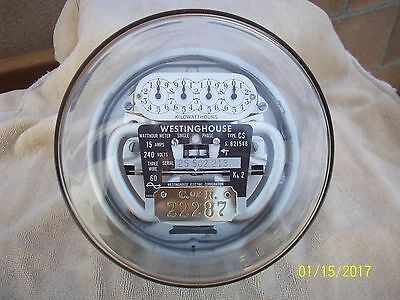 Vintage Westinghouse Residential Electric Meter 100 Amp 240 Volt Works Well