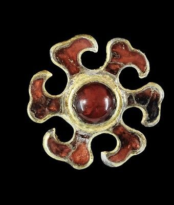 SAXON OSTROGOTHIC SILVER-GILT AND GARNET RAVEN BROOCH 5th-6th century AD