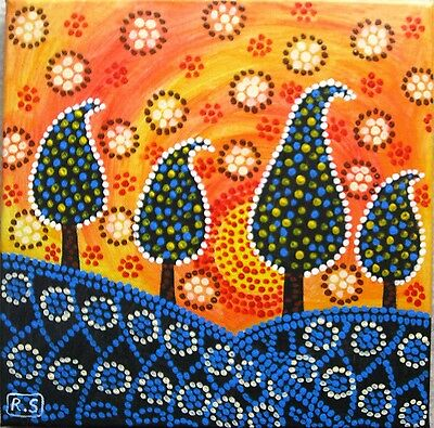 Aboriginal Style Dot Art Painting on Stretched Canvas, Australia