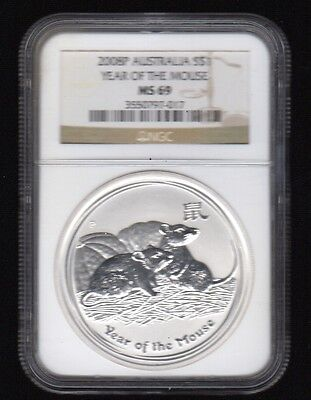 2008P Australia S$1 Year Of The Mouse Ngc Silver Proof Coin !!!