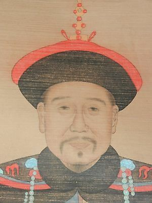 Large Chinese Kangxi Emperor Scroll, Painting On Silk