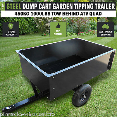 NEW Steel Dump Cart  Garden Tipping Trailer 450kg 1000lbs Tow Behind ATV Quad