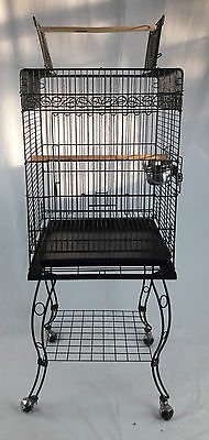 Black Vein Open Top parrot cage with stand perch bx12