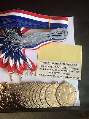 30 x Metal Football Medals & Ribbons. Silver FREE ENGRAVING Birthday Party Medal