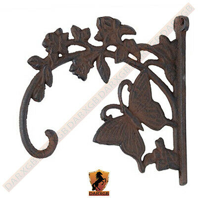 Cast Iron Victorian BUTTERFLY Plant Leafs Hook Garden Wall Hanger Barn Fence NEW