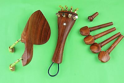 1 set top rose wood Viola parts accessories, tailpiece, chinrest, pegs, endpin