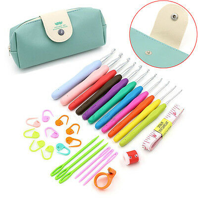 30pcs Crochet Hooks Kit Yarn Knitting Needles Sewing Tool Ergonomic Grip Bag Set