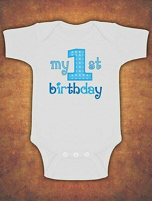 My First 1st Birthday Cute Baby Kids Preset Grow Body Suit Vest Boy