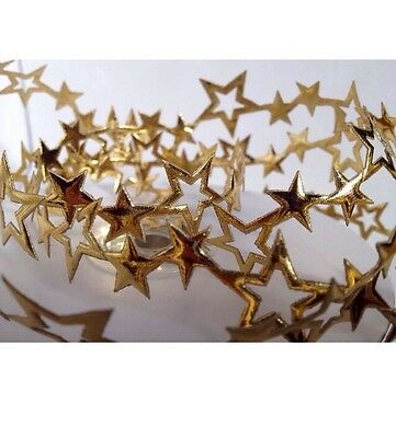 ^1€ 3x 25mm x 10Y CUT OUT SHINY GOLD SATIN CHRISTMAS STAR