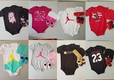 Nike Air Jordan Baby Boy Girl Cotton Clothes Bodysuit Romper Beanie Booties set1