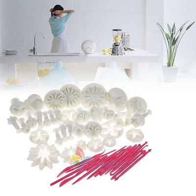 47Pcs Fondant Sugarcraft Cake Decorating Icing Plunger Cutters Tools Mold Mould