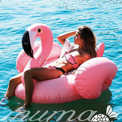Summer Swimming Pool Inflatable Swim Ring Giant Rideable Pink Flamingo Float Fun