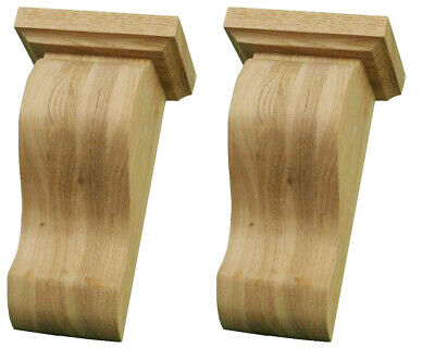 Matched Pair of Plain Zen Corbels with capping in ASH Wood, #382