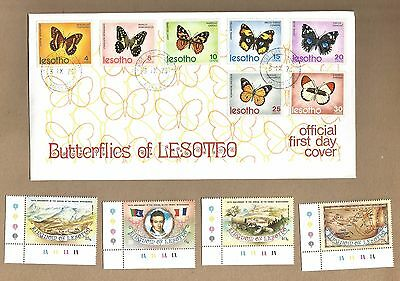 Lesotho: Beaut FDC + set 4 MNH + 9 used + 'Pope' used Postcard.(Ref 951)