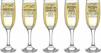 Personalised Engraved Wedding Champagne Wine Flutes - Any Name - Free Delivery