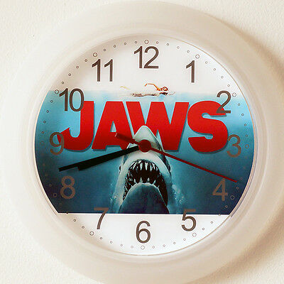 JAWS Wall Clock - New 24cm movie Great White Shark Christmas Gift Kris Kringle