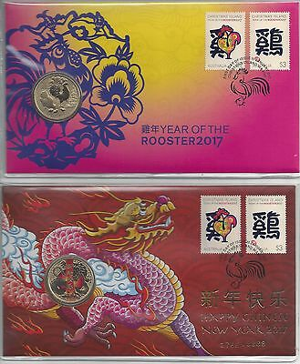 Christmas Island 2017 Year of the Rooster PNC set of 2