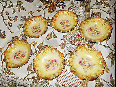 Antique RS Prussia Hand Painted Berry Bowls 2 Tone Roses & Autumn Leaves (6)