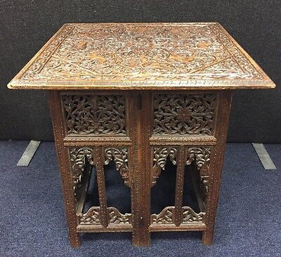 """Large Antique Indian Rosewood Intricately Carved Side Table 23"""" / 58.5cm Square"""