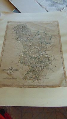 Early 19Th Century Map Of Derbyshire Hand Tinted