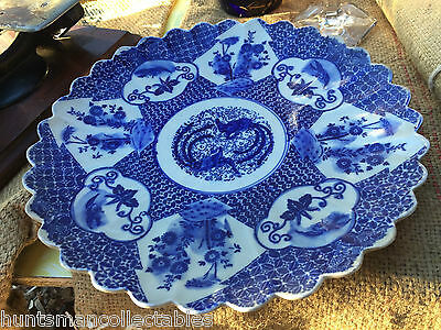 Stunning Large Antique English Blue & White Serving Plate Charger Lyre Birds