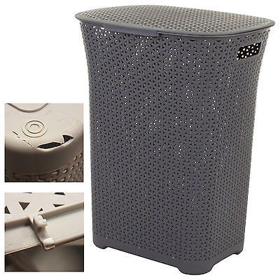 Damaged Silver Grey Plastic Laundry Basket Washing Clothes Bin Handles & Lid