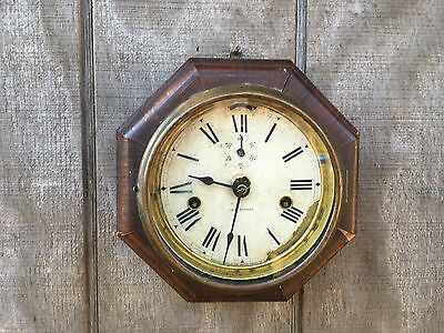 Antique Seth Thomas Lever One ay Octagonal Marine Nautical Ship Clock Some Loss