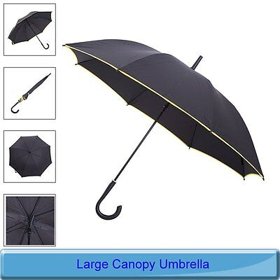 Vented Strong Windproof Umbrella Automatic Open/Close Large Canopy Black