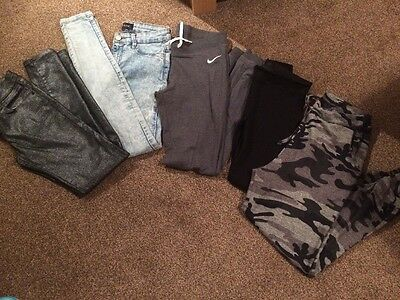Bundle Of Women's Pants Nike Leggings River Island Jeans Camo 8-10 New Look