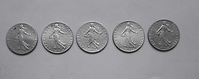 5 Pieces De 50 Centimes Semeuse Argent France