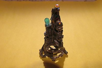 Pewter Fantasy Castle With Crystal Balls And Gold Highlights Figurine