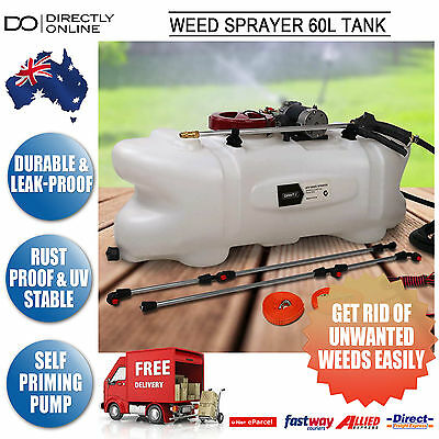 Farm Garden Weed Chemical Spray 12v Pump Pressure Boom Spot Wand 60L Tank 108psi