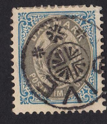 DENMARK  3 ore  Stamp with obliteration star of the city of GIVE