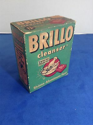 VINTAGE BRILLO BOX-12 PADS + SOAP - pre1950s?-Unopened/Sealed RARE GREAT DISPLAY