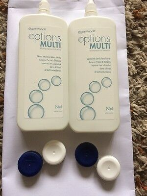 Coopervision Options Multi 2x250ml Bottles Contact Lens Solution and 2 Cases