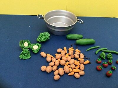 dolls house mixed vegetables in a metal tub