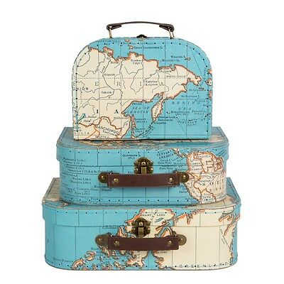 Vintage Map Storage Suitcases 3 Sizes Or Set Of 3