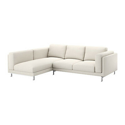 Ikea Nockeby COVER SET for Two [2] seat sofa + chaise LEFT in Tallmyra L/ Beige