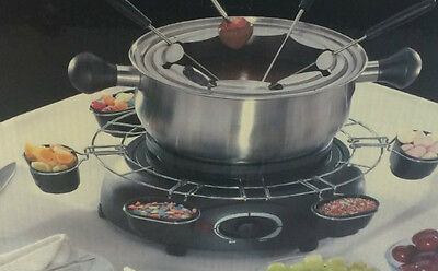 PROlectrix Large Multifunctional Fondue S/ Steel Set. Incl.6 Cups and Forks. NEW