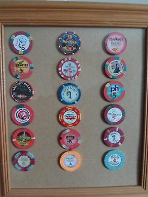collection of 18 Las Vegas casino chips