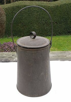 Small Vintage Metal Milk Churn / Pale / Can with Lid & Handle
