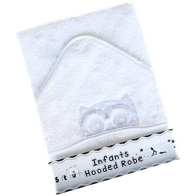 *New* Soft Luxury White Owl Baby Hooded Bath Towel / Robe (Owl design)