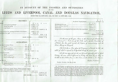 1845 Leeds and Liverpol Canal Accounts on entire.  Rare